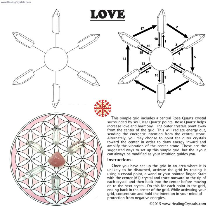 Love Grid Kit w/Rose Quartz (10pcs.) - Healing Crystals  This Love Grid Set includes 1 Grid Card to lay your crystals on, 2 Crystal Information Cards, 1 Tumbled Rose Quartz, and 6 Clear Quartz Points. Instructions for setting up your grid are also included.   HCPIN10 = 10% discount