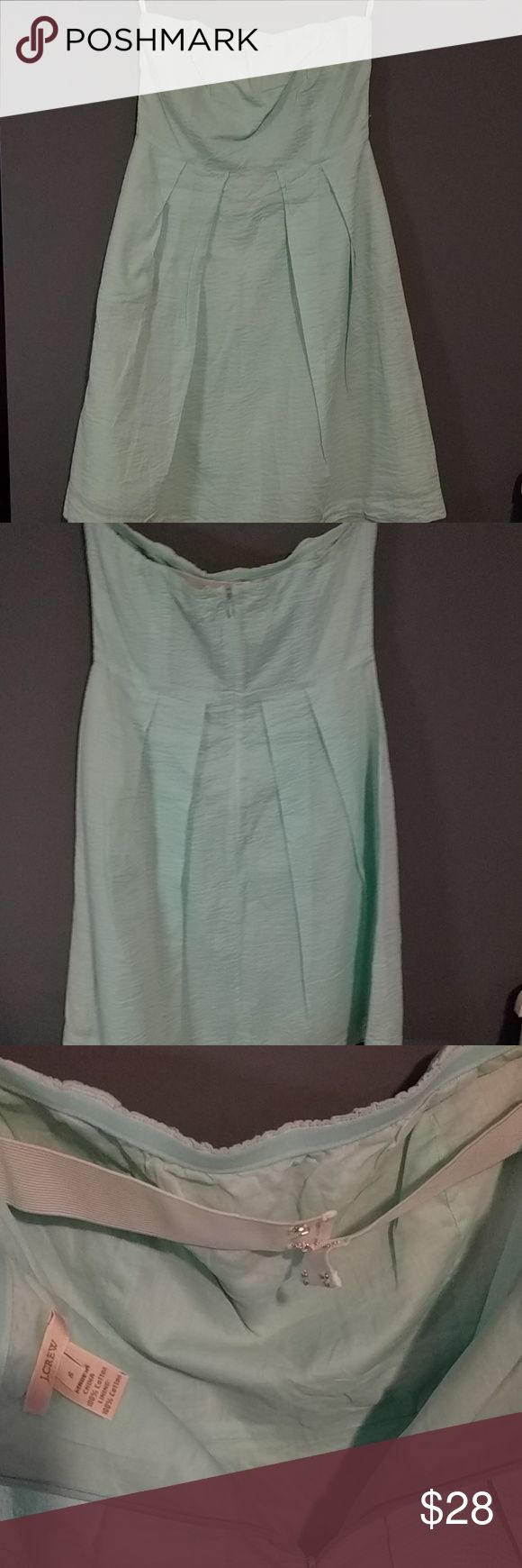J.crew dress, NWOT Sea foam green j.crew dress, elastic enclosures for a snug fit Embossed dress J. Crew Dresses