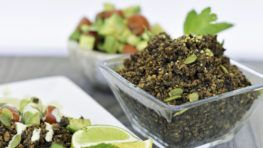 """A super healthy ground """"meat"""" recipe that is completely meat-free. It is made of eggplant, mushrooms, protein powder and tofu. This tasty vegan meat is a high source of protein, what makes it a super healthy option for your meals. Enjoy it with pasta, or with tacos or with your favorite meal! #vegan #recipes #veggies #protein #powder #healthy #meat #dinner"""