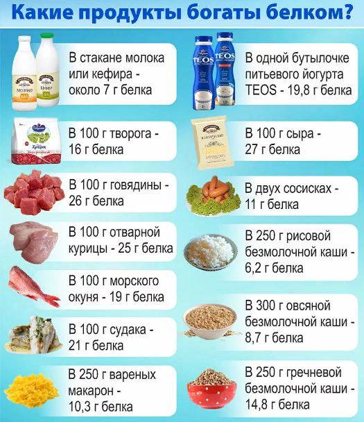 белок в продуктах для похудения список продуктов