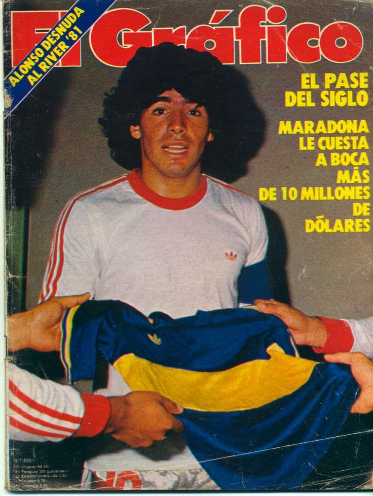 Boca Juniors - 1981 - Maradona con la camiseta de Argentinos Jrs. antes de su pase a Boca
