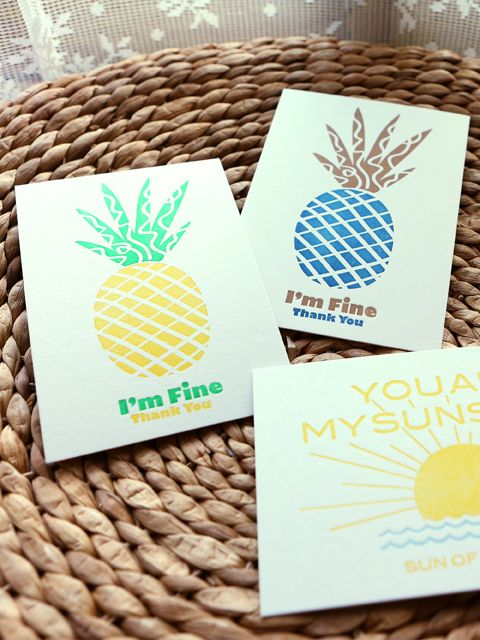 studio smalls letterpress postcard  I'm Fine  Thank you  pineapple letterpressed in seoul  pineapple