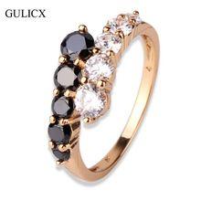 Moda Anéis de Noivado para as mulheres 18 K Banhado A Ouro Anel Médio preto Branco Cristal de Zircônia CZ Banda Anel Anéis de Casamento Jóias R110(China (Mainland))