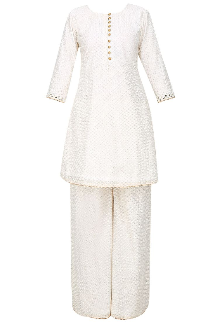 Off white foil embroidered kurta and sharara pants set available only at Pernia's Pop Up Shop.