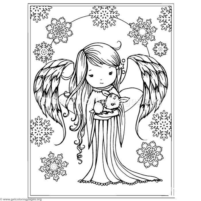 Download For Free Angel And Snowflakes Coloring Pages Angel Coloring Pages Christmas Coloring Pages Deer Coloring Pages