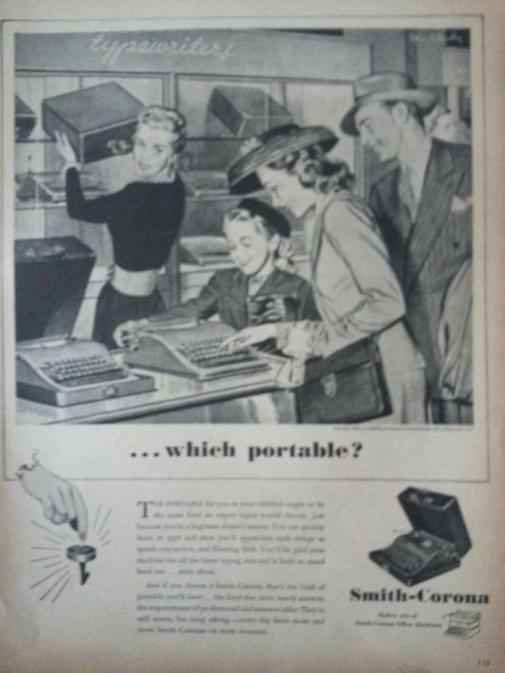 1946 Vintage Smith Corona Typewriter Family Choosing Portable Original Print Ad #SmithCorona