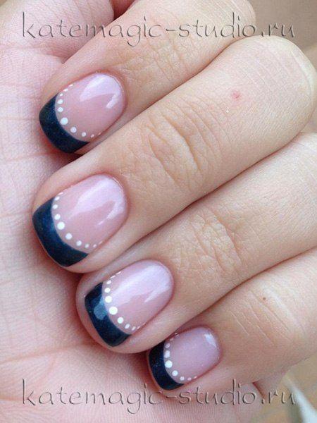 Дизайн коротких ногтей шеллаком ногтей