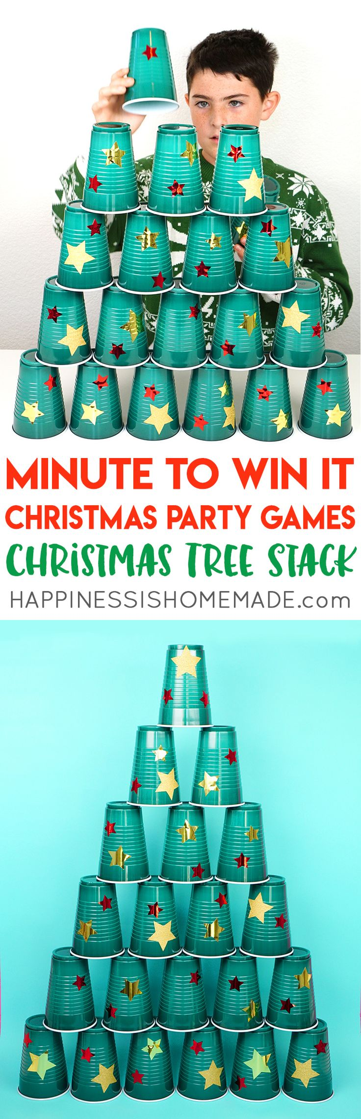 Christmas Minute to Win It Games - Host the best Christmas party ever with these fun Christmas Minute to Win It games for kids and adults – everyone from toddlers to grandmas will want to play! These Christmas party games are perfect for all ages – challenging enough for older kids and adults, but still simple enough that younger children can join in the fun!