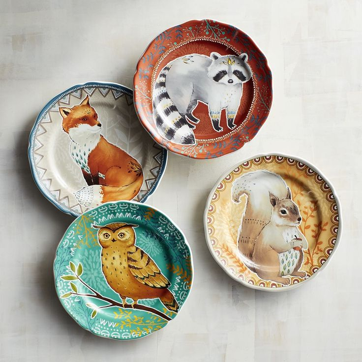Take on an autumn attitude with our charming quartet of stoneware salad plates. Made exclusively for Pier 1, they feature four different sweet-faced animals, each on a different background. Plus, they're dishwasher-safe and microwaveable, which makes them as useful as they are cute.