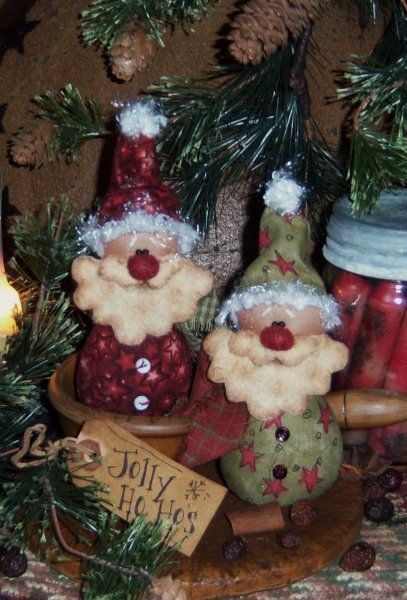 Patti's Ratties Christmas Santa Doll Ornies Pattern PM391