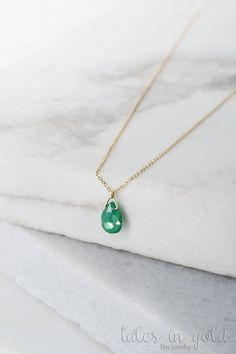 Emerald Necklace, Birthstone Necklace, 14k Gold Necklace, Yellow Gold, May Birthstone, Emerald Drop, Gold Chain Necklace, Birthday Gift