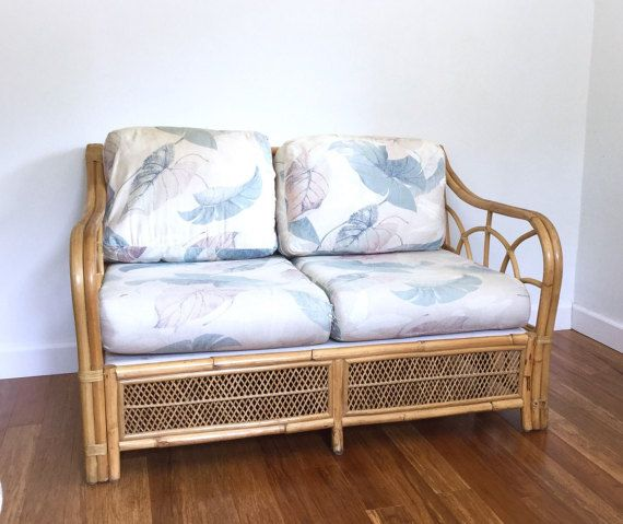 Bamboo Rattan Settee Loveseat Sofa, Mid Century Wicker Bentwood, Boho,  Bohemian, Beachy
