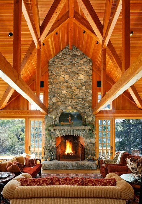 Timberframe Trusses With Huge River Rock Fireplace; Open