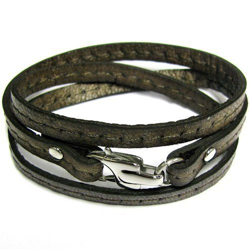 "Stainless Steel 3 Rounds Dark Brown Flat Leather Cord 5.6mm Bracelet 7.5'' With Lobster Clasp Queenberry. $20.98. Size of end Lobster : ~11mm x 20mm x 4.5mm. Length: ~7.5"" per round. Materials: Genuine Leather Cord & 316L Stainless Steel. Color: Dark Brown Leather and Steel. Cord Size: ~5.6mm x 1.8mm. Save 56%!"