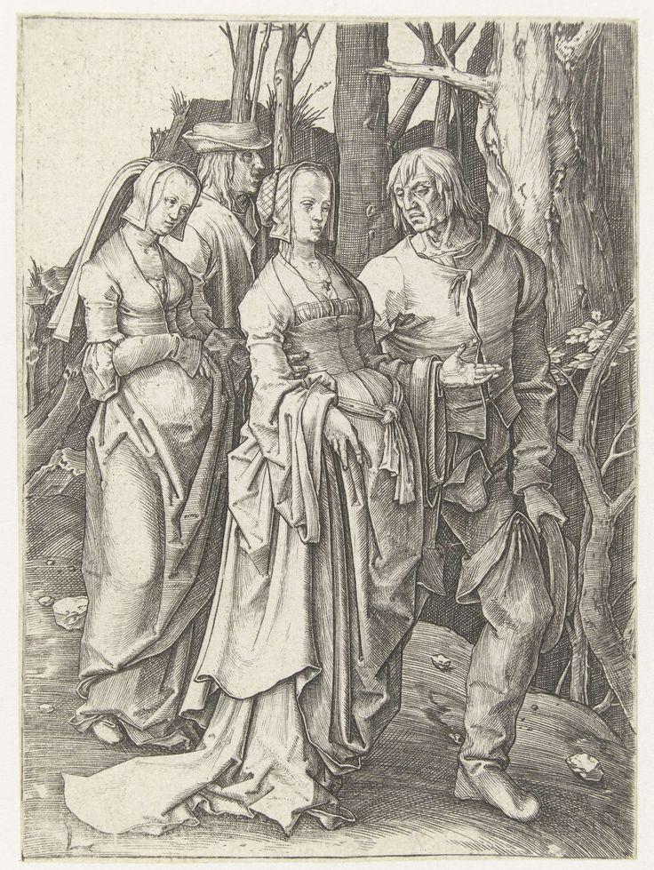 Twee echtparen in het bos, Lucas van Leyden, 1507 - 1511