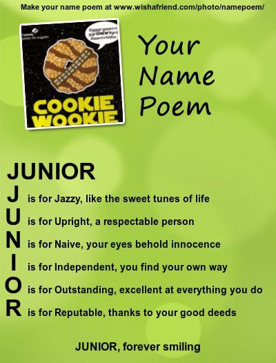 Acrostic Name Poem, Acrostic Poem For Your Name JUNIOR ...