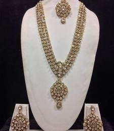 Buy Long Designer Jewelry Set in White bridal-set online