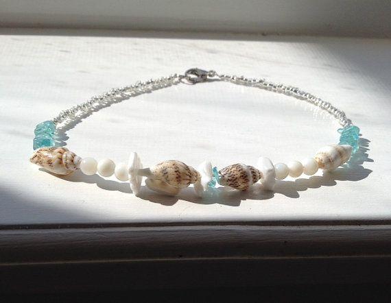 Turquoise Seashell Ankle Bracelet