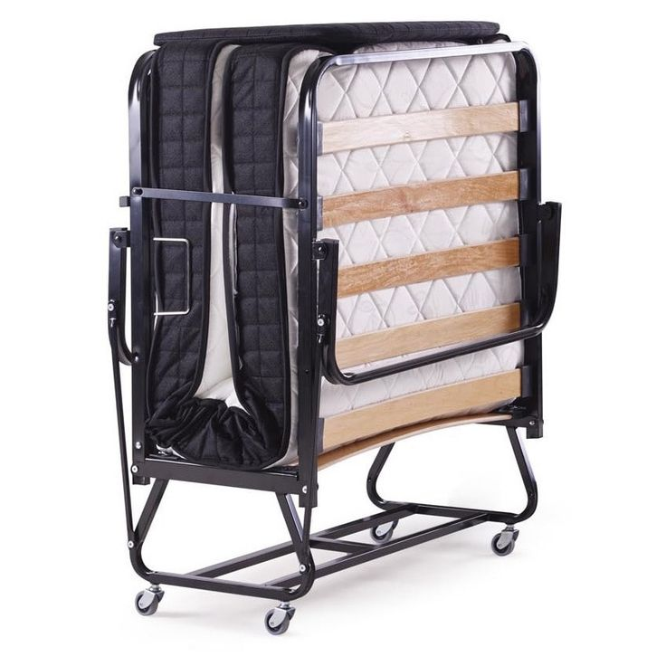 Five Star Guest Roll-away Folding Guest Bed with Twin-size Mattress (FiveStarBed), Black