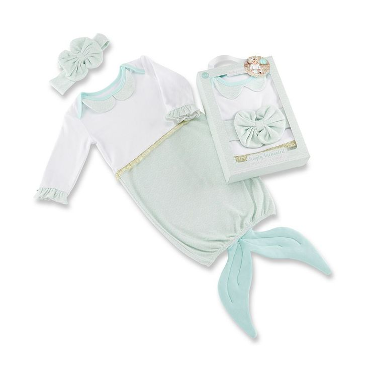 Baby Girl Baby Aspen Simply Enchanted Mermaid 2-Piece Layette Set, Multicolor
