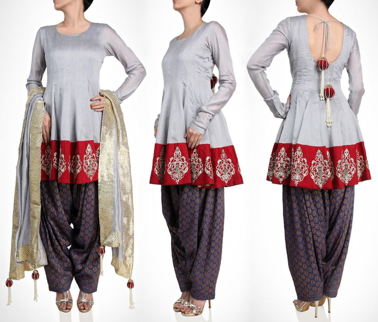 Payal Singhal This gray multi panelled kurta is modern take on traditional wear. The multi-colour brocade patiyala makes it a distinctive piece for your traditional getaway.