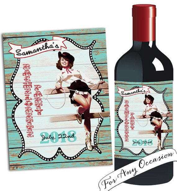 Cowgirl Wine bottle label/Bachelorette party by CupidDesigns