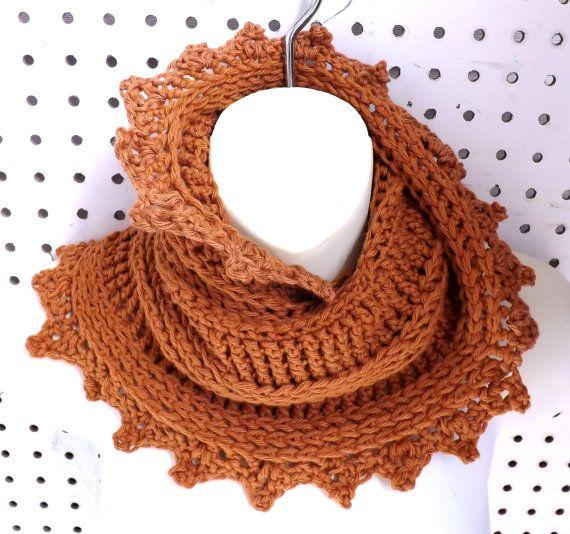 Antique Gold Crochet Scarf Cotton Yarn Infinity Scarf Antique Gold Scarf Crochet Summer Scarf LAUREN Crochet Infinity Scarf by strawberrycouture by #strawberrycouture on #Etsy