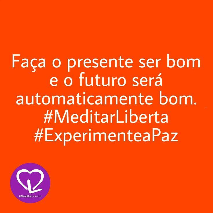 Faça o presente ser bom e o futuro será automaticamente bom.  #MeditarLiberta  #ExperimenteaPaz