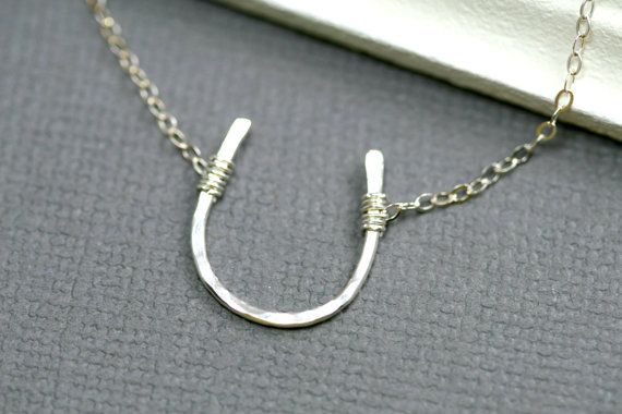 Silver Horseshoe Necklace - Good Luck Charm - Hammered Pendant - Delicate Simple Charm Necklace