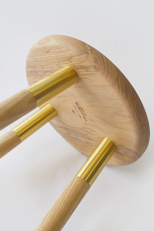 Tool Stool is a minimalist design created by England-based designer Daniel Schofield. The Tool Stool gets its inspiration from the way knife and tool blades are traditionally fixed to the handle using a brass rivet. This visual language serves as the inspiration behind the solid Ash stool with Brass detailing on the legs and surface of the seat. The Tool Stool can also be used as a side table. Available in low stool or barstool heights.