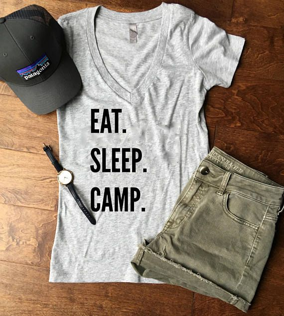 Eat Sleep Camp Women's Shirt // Cute Camping Shirt // Gift