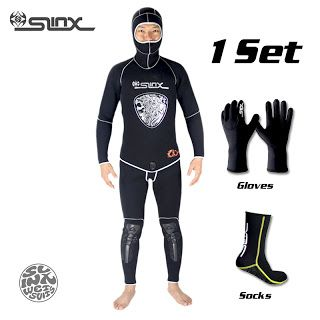 SLINX 5mm Neoprene Scuba Diving Spear Fishing Fishermen Snorkeling Wetsuit Winter Warm Two-Piece Suit with 3mm Gloves Socks Set (32710890018)  SEE MORE  #SuperDeals
