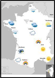 Jeu météo : pour pratiquer les prépositions (a + ville ou en/au/aux + pays) et demander le temps qu'il fait.