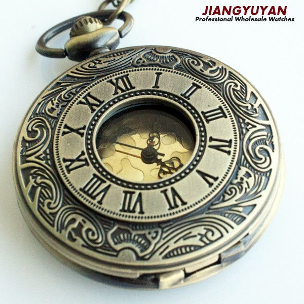 Men Vintage Pocket Watch Retro Antique Watches with Chain Necklace Roman Steampunk Gift for Him Anniversary Weddings Groomsman