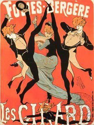 """Jules Chéret (1836-1932), Folies Bergère, Les Girard, Jules Chéret, 1877. - Dans les créations de Chéret, le sujet favori est la femme, en l'occurrence son unique modèle, Charlotte Miche dite """"Chevrette"""". Si l'objet présenté n'a qu'un lointain rapport avec le thème, le rouage psychologique demeure, cette silhouette aux formes aguichantes, vaporeuse à souhait, qui attire le regard du passant."""