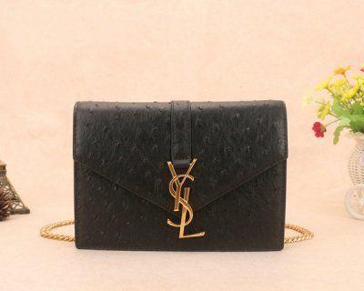 2014 Yves Saint Laurent Candy Shoulder Bag 9962 in Black Ostrich ...
