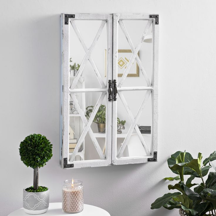 White Shutter Barn Door Decorative Mirror | Wall Decor and ...