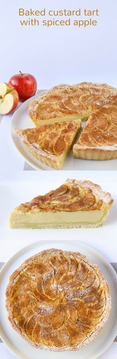 Buttery pastry, rich creamy custard and tart apples combine beautifully in this baked custard tart.