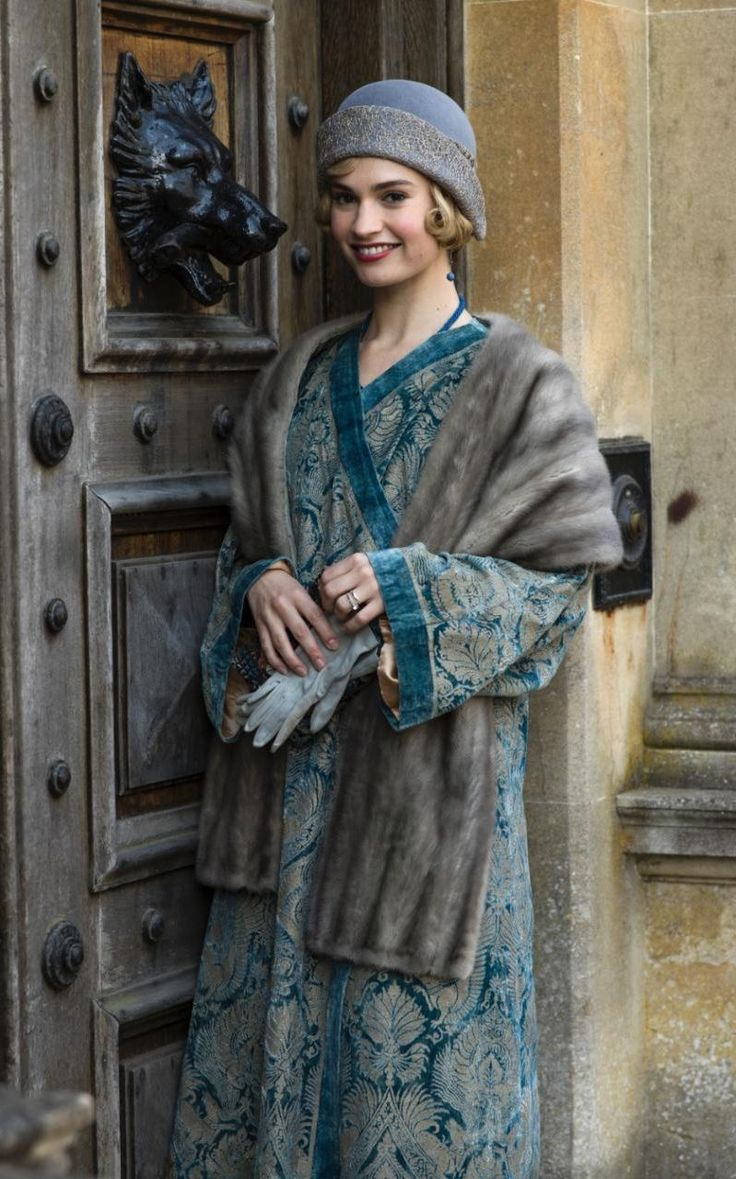 like the fabric and the colors Lily James as Lady Rose in Downton Abbey