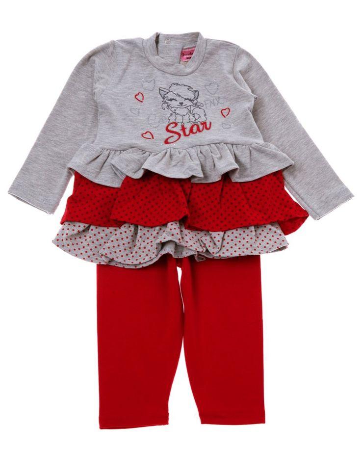 Funky βρεφικό σετ μπλουζοφόρεμα-παντελόνι κολάν «Cat Star»  €13,90