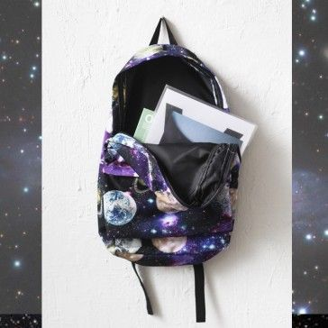 [Space Backpack] A backpack featuring a space, galaxy print. Comfortable and adjustable shoulder straps. Colorful graphic. This is not a normal backpack!