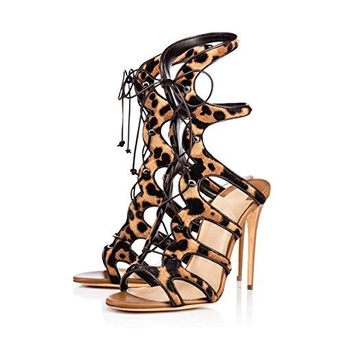 Onlymaker Women Ankle Strap Leg Wrap Adjustable Elastic Hot Fashion Leopard Handmade Shoes multicoloured