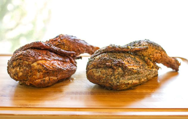 Hickory smoked chickens with two types of dry rubs   mjskitchen.com