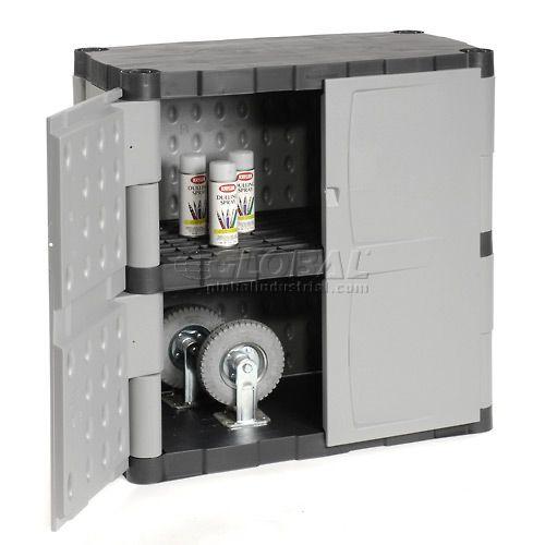 "Rubbermaid 7085 Plastic Storage Cabinet Base Double Door 36""W x 18""D x 37""H for appliances on deck"