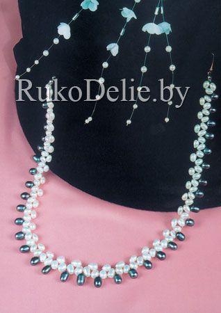 Ожерелье из белого и черного жемчуга ''Мария Стюарт''