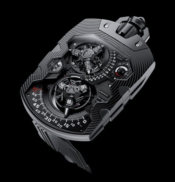 Urwerk Ur-1001 Zeit Device includes indications for satellite hours, retrograde minutes, day/night, running seconds, power reserve, revolving satellite calendar, oil change warnings and indications for 100-years and 1000-years.