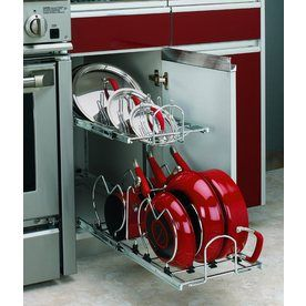 Rev-A-Shelf 2-Tier Metal Pull Out Cabinet Basket.  Comes in diffent sizes.  This is awesome.