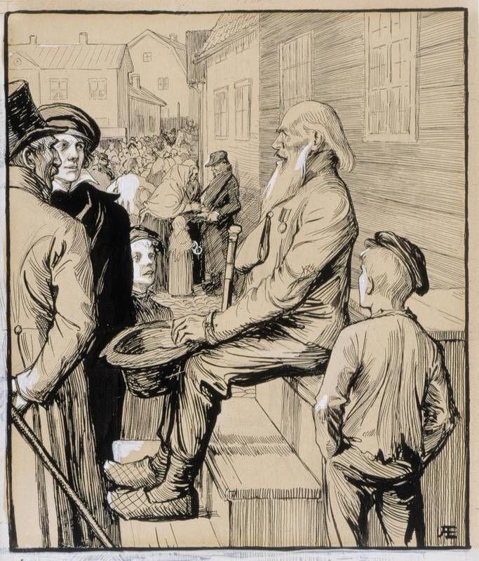 """Albert Edelfelt: """"Ystäväni, miehet, naiset, onko tässä kuulijaa"""", 1897-1900 (Vänrikki Stoolin tarinat kuvitusta) - Albert Gustaf Aristides Edelfelt (1854-1905) was a Finnish painter, whose father Carl Albert was an architect. Edelfelt admired the poet laureate Johan Ludvig Runeberg who was a good friend of the Edelfelt-family. Edelfelt illustrated Runeberg's epic poem The Tales of Ensign Stål. He studied art in Antwerp (1873-1874), Paris (1874-1878), & St. Petersburg (1881-1882)."""