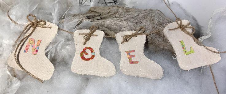 """Guirlande bottes de Noêl en tissu """" fait main """" : Accessoires de maison par mode2filles"""