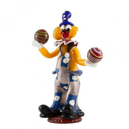 #Handmade #MuranoGlass clown created using the ancient #murano glassmasters technique. Our clowns are unique art pieces, lesser color differences are quality marks of the product. Diameter 15 x height 38, price: 270 euro. Visit our web site www.sognidicristallo.it to see or buy online our creations!